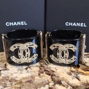 PAIR of CHANEL Cuffs Black Gold Chain CC Logo